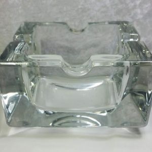 Solid Glass Ash Tray Modern Sleek Design